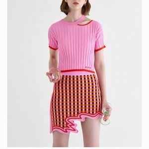 PH5 | NWT Nova Wavy Border Mini Skirt Pink Red